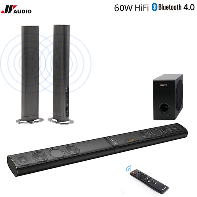 60w Home Theater Tv Soundbar Bluetooth Speakers Wireless Sound Bar Stereo Led Tf Optical Hdmi