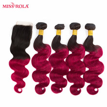 Miss Rola Hair Pre-colored Ombre Brazilian Body Wave Non-Remy Hair #1B/BUG Human Hair Weave 4 Bundles With Closure Extensions