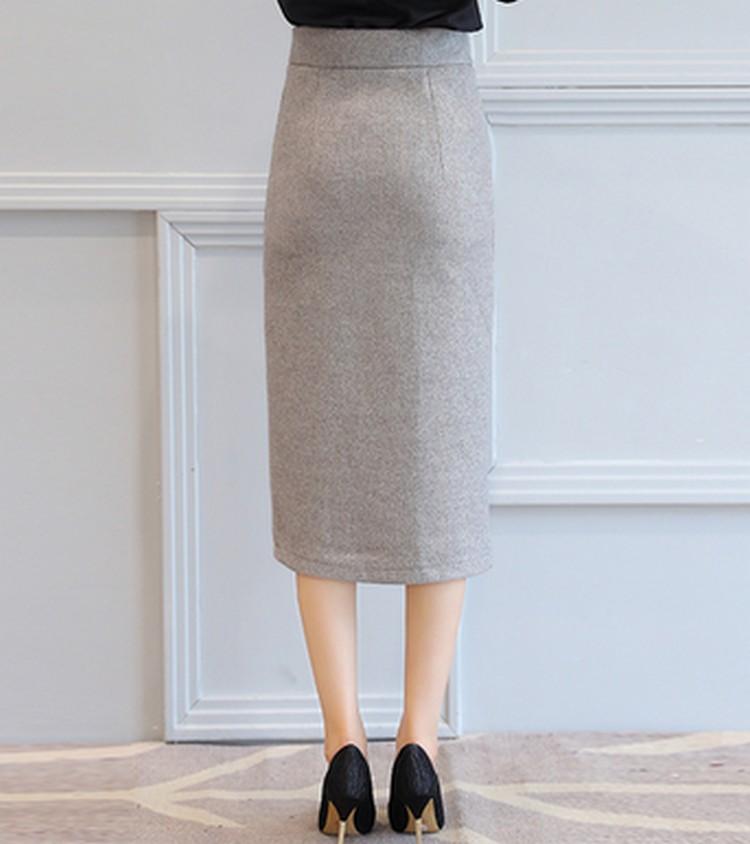EXOTAO Autumn Winter Midi Skirt Single-Breasted High Waist Warm Saia Feminina Solid Pencil Skirt Office Ladies Fashion Faldas 6