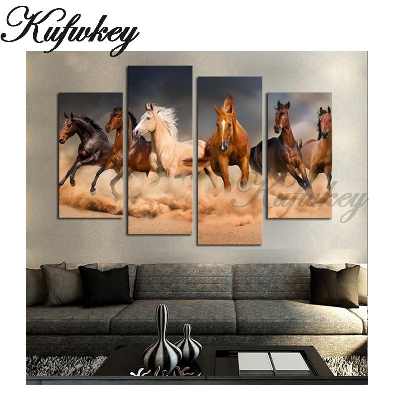4kpl, timanttikoruompelu myynti hevonen, 5d timanttimaalaus täysi - Taide, käsityöt ja ompelu