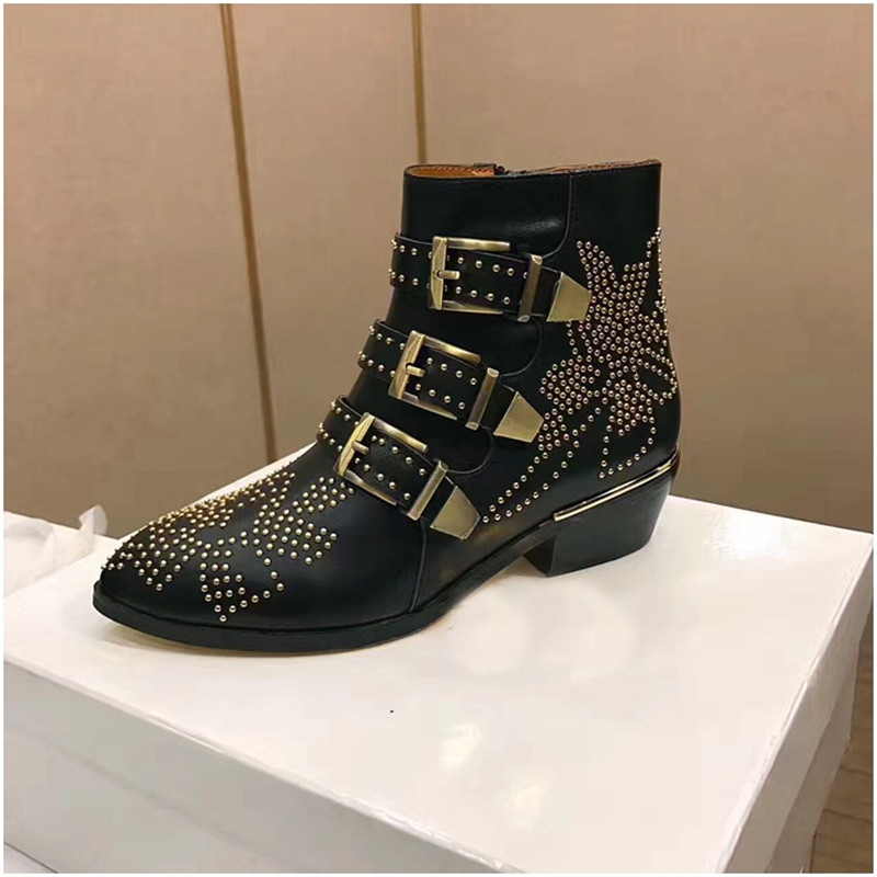 Fashion Punk Style Motorcycle Boots Susanna Studded Buckle Ankle Boots With Metal Decor Rivet Women Booties - 3