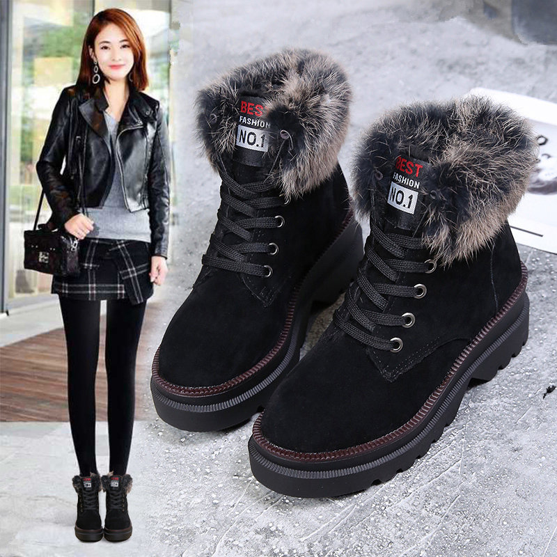 high quilted platform fashion flat with fur ankle lacing antiskid brown winter sneakers casual martens boots woman famous brand