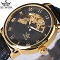 Número roman sewor homens moldura de ouro de luxo da marca de moda relógio automático relógios mecânicos relogio pulseira de couro genuíno 2017