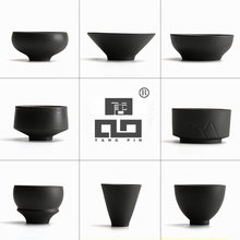 TANGPIN black crockery japanese ceramic tea cup for puer teacups porcelain chinese kung fu tea sets(China)