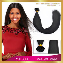 Yotchoi 7A Pre Bonded Flat Tip Hair Extensions 1 Gram Strand Keratin Remy Human Hair Brazilian Straight Hair Jet black colour 1#