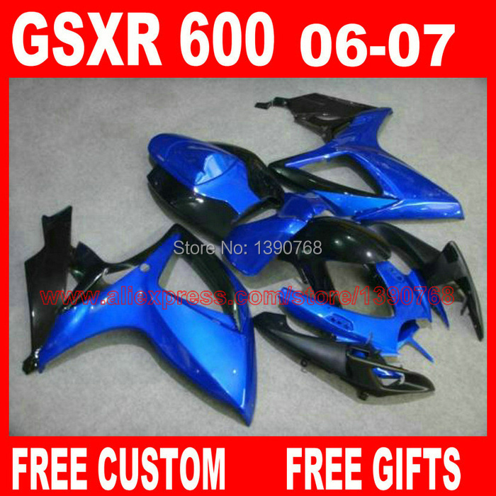 Free customize <font><b>fairing</b></font> <font><b>kit</b></font> for 06 <font><b>07</b></font> SUZUKI K6 <font><b>GSXR</b></font> <font><b>600</b></font> 750 blue black <font><b>fairings</b></font> set gsx-r600 2006 GSX-R750 2007 HV71 image