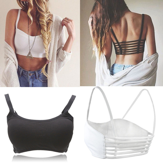 Hot Sale Fashion Sexy Women Bralette Cage Caged Back Cut Out Padded Bra Bralet Cotton Bra Vest Crop Tops Free Shipping