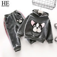 Girls Clothing Sets Fashion 2018 Winter Clothes For Girls Animal Dog Baby Girl Suit Warm Thick