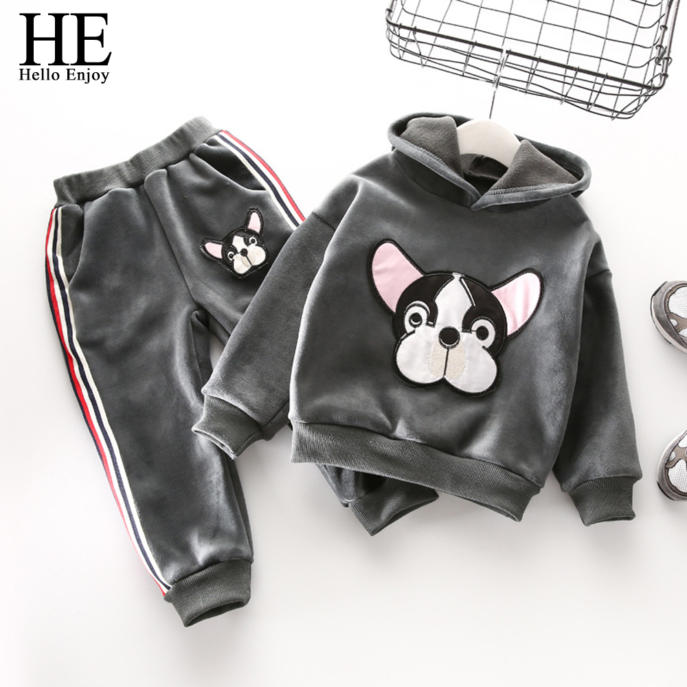 Girls clothing sets fashion 2017 winter clothes for girls animal dog baby girl suit warm thick Mla winter style fashion set