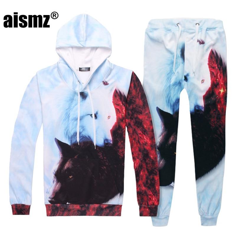 Aismz Autumn Winter Casual Mens Tracksuit Set Fox 3D Print Hooded Sweatshirt+Pants 2 Piece Sets Moletom Masculino Men Suit