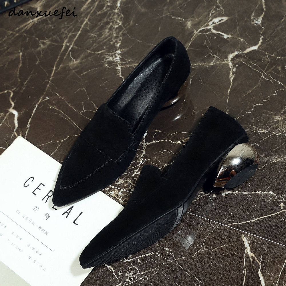 Femme Bas Chaussures Confortable Genuinesuede De Beige Slip on Talons Keather black Rétro Pompes Pour À Daily Dames Simple Femmes ZRqz8xx