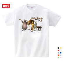 Kids Clothes Girls 3-12 Years 100% Cotton T-shirt Summer New Short White T Shirt Cartoon Madagascar Mens Womens Casual