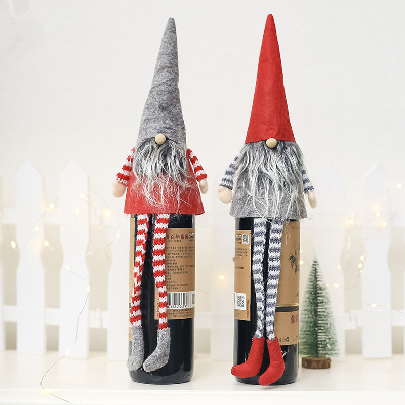 Handmade Christmas Gnome Decoration Holiday Gifts Swedish Figurines Sitting long-legged Christmas elf Bottle Decoretion Set 11