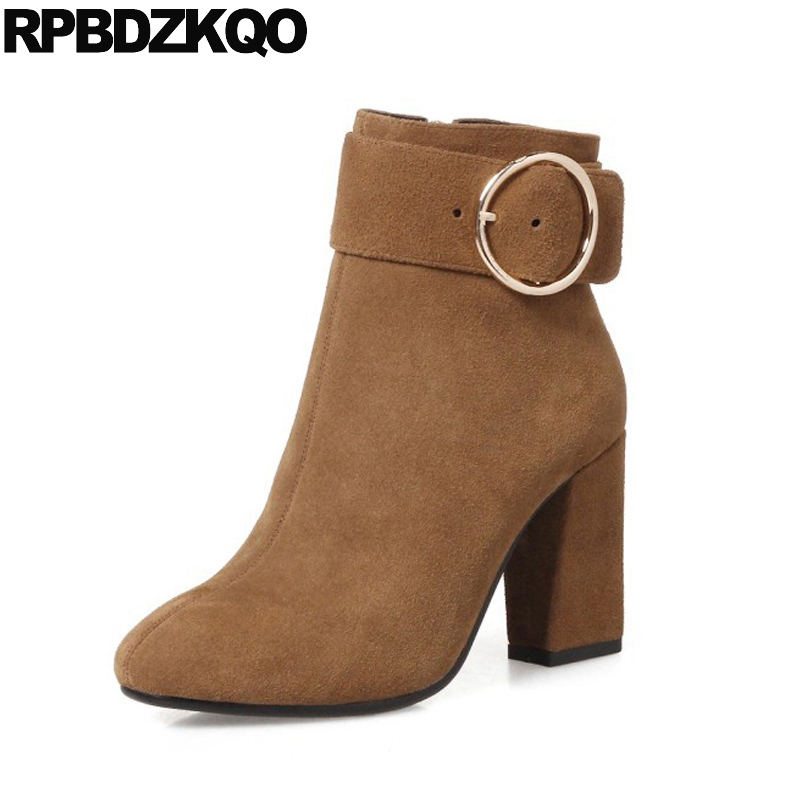 Brown Short Shoes Chunky Zipper Metal Brand Genuine Leather 2017 Booties Suede High Heel Women Ankle Boots 2016 Round Toe Autumn women ankle boots medium heel genuine leather booties vintage thick suede round toe chunky shoes slip on platform brown fall