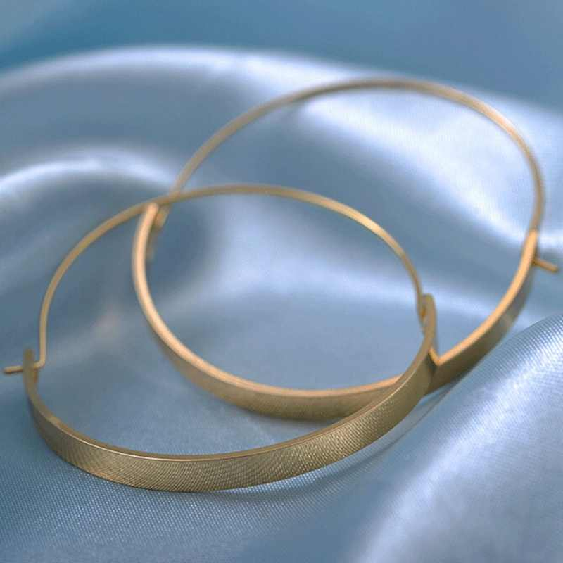 Elegant Big Circle Hoop Earrings Fashion Jewelry Minimalist Gold Silver Color Smooth Arc Plate Round Earrings For Women