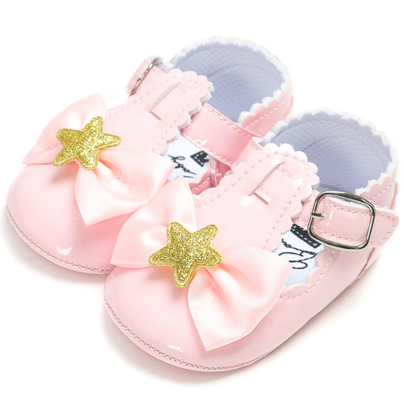 2019 Spring Princess Girls Baby Shoes Shining Star Bow Pu Leather Solid Crib Babe Infant Toddler Cute Ballet Mary Jane Shoes