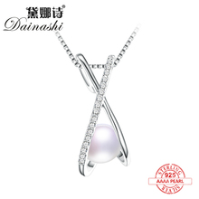 Dainashi 2017 popular cross natural pearl pendant and pearl necklace fine jewelry with 925 silver material accessories