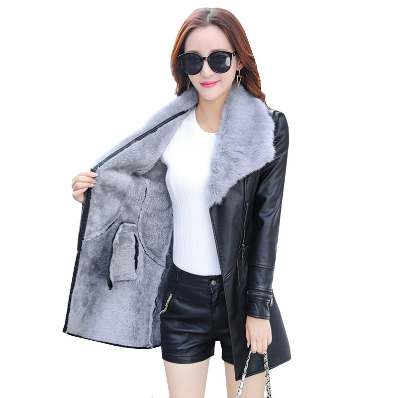 Plus Size Women Winter Coat Thick   Leather   Jacket Medium Long Spliced Slim PU   Leather   Fur Collar Warm Liner Wool Overcoat Female