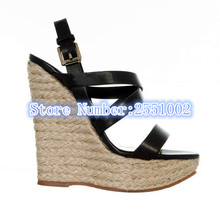 Buckles Platform Gladiator Sandals Women Wedges Open Toe Soft Leather Summer Shoes Woman 2017 High Quality Dress Sandalias 40