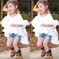 Wholesale Cute Kids Girls Summer White Princess Dress Frills Flare Sleeve Party Ruffles Hem Dresses