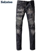 Sokotoo мужская мода черные дыры ripped байкерских джинсы для moto Мужчина случайно плиссированные стрейч джинсовые брюки Длинные брюки