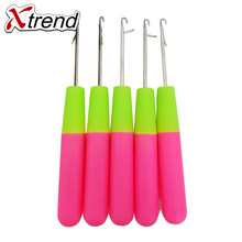 Best Promotion 10 Pcs/Lot 15Cm Handle Wig Making Tools, Pink & Lemon Color Plastic Wig Needle Crochet Hook For Hair Extensions(China)