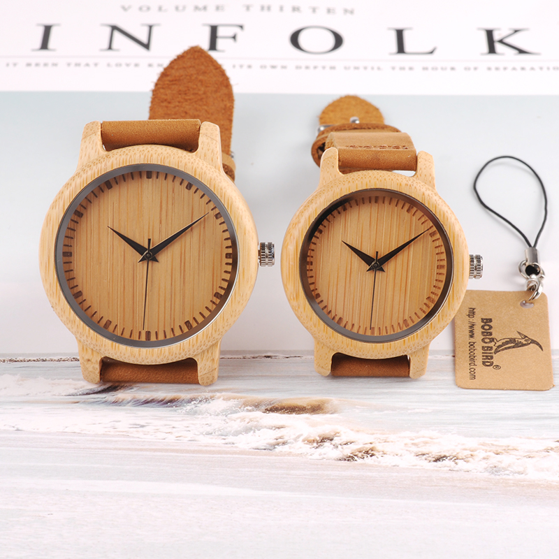 BOBO BIRD Brand Design Women Wooden Bamboo Watch Real Leather Strap Quartz Watches for Women can
