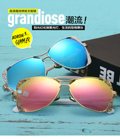 New Type Of Light Sunglasses Fashion Color Film Large Frame Original Pattern Side Frame Sun Glasses