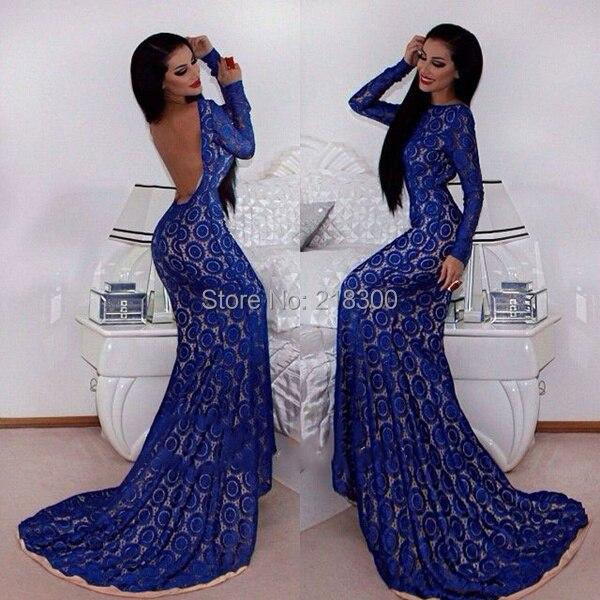Online Get Cheap Long Sleeves Mermaid Backless Open Back Long Blue ...