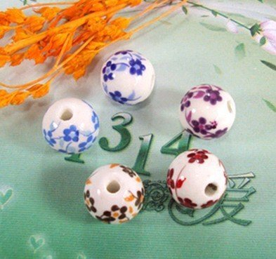 DIY beaded material 12MM ceramic beads broken flowers / blue and white porcelain (5 color optional) wholesale free shipping