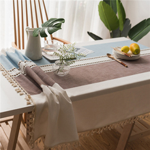 Nordic Pop Home Table Cloth Cotton Linen Embroidered Coffee Blue Tablecloth For Table Tassel Dining Table Cover Nappe Tafelkleed