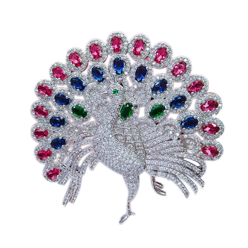 Luxury Large Tail Peacock Animal Pins and Brooches for Women Red/Blue Cystal CZ Zircon Broches Fashion Jewelry Wedding Gift X316 luxury star crystal rhinestone lapel pins and brooches for women large mother of pearl suit broches bridal wedding jewelry x012