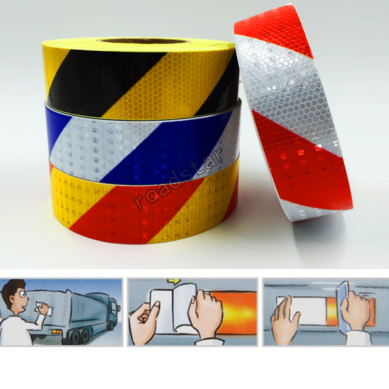 5CMx10M Shining Reflective Warning Tape With Twill Printing For Car Free Shipping