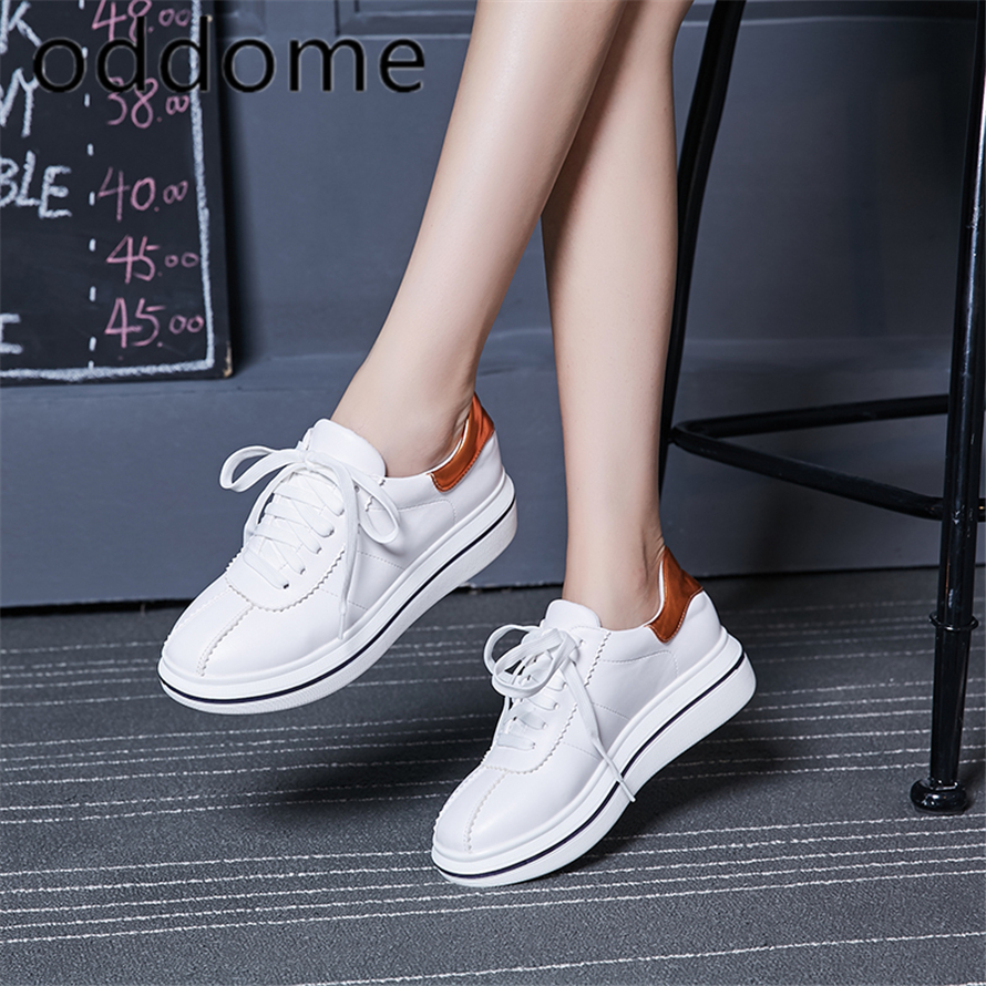 Spring Autumn New Designer Wedges White Lace-Up Platform Sneakers - Kasut wanita