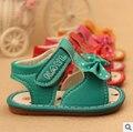 Лето детская обувь baby girl обувь симпатичные лук-узел цветы плоские туфли удобная кожа детская обувь обувь для девочек