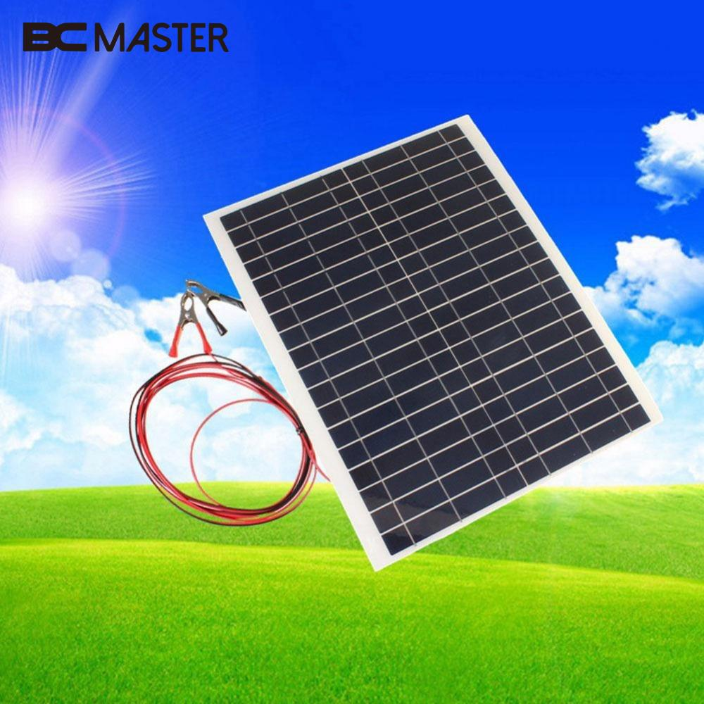 BCMaster Practical Efficiency 12V 20W Sun Power Bank Solar Cells Soft Flexible Solar Panel With Cable Clip Charger Tool