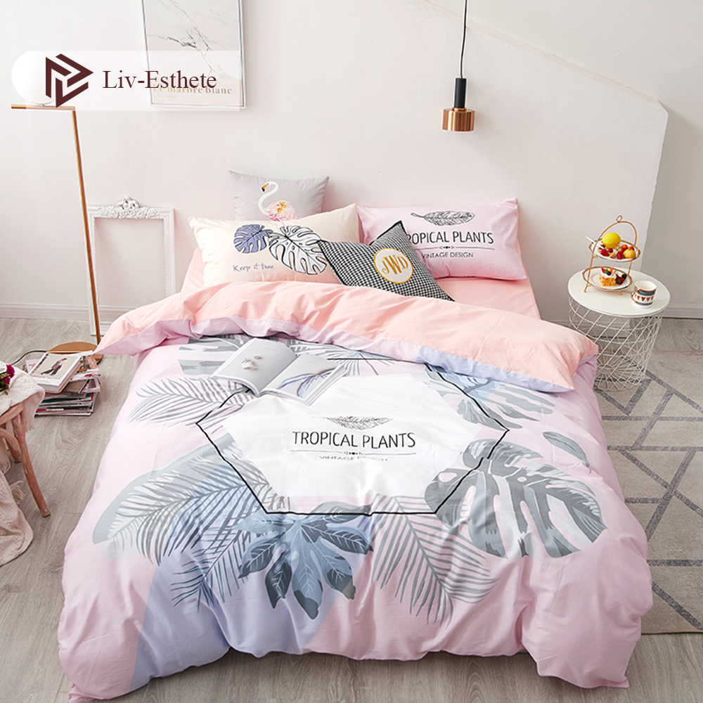 Liv Esthete 100 Cotton Tropical Plants Bedding Set Duvet Cover Pillowcase Flat Sheet Fitted Sheet Double Queen King Bed Linen in Bedding Sets from Home Garden