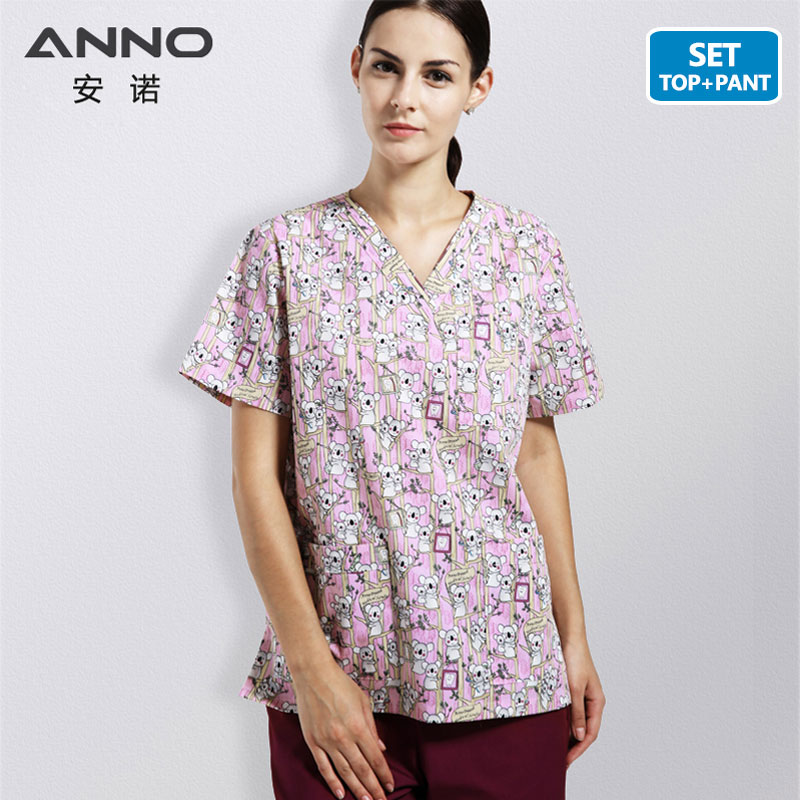 ANNO Cotton Hospital Uniforms With Cartoon Bear Healthy Care Nursing Uniform Medical Women Man Scrubs Short Sleeves Medial Suit