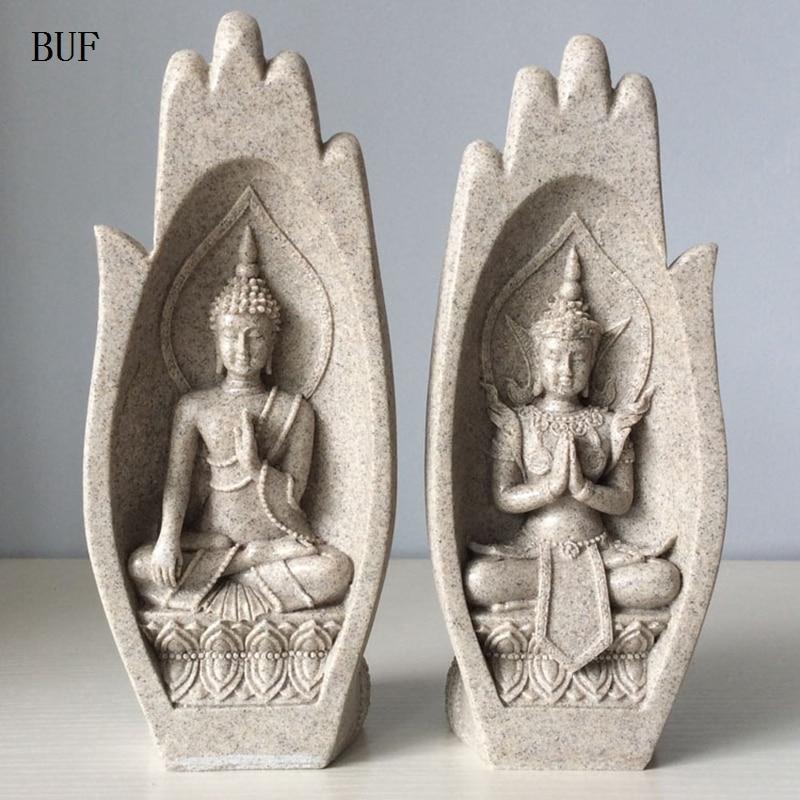2 Pcs Kleine Buddha Statue Mönch Figur Tathagata Indien Yoga Mandala Hände Skulpturen Hause Dekoration Zubehör Ornamente