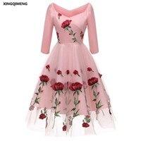 In-Stock-Embroidery-Roses-Evening-Dresses-Three-Quarter-Sleeve-Elegant-Short-Cheap-Simple-Pink-Formal-Dress.jpg_640x640