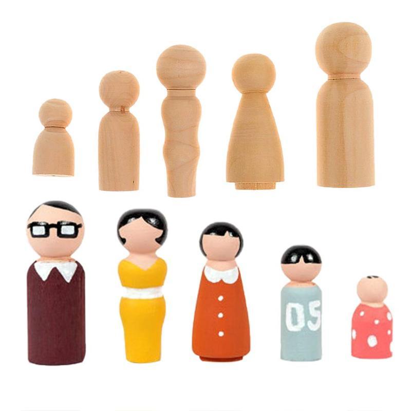 5pcs/Set DIY Painted Wooden Family Peg Dolls DIY Wedding Cake Decor Kids Painted Toy Educational Children Craft Toys Gift
