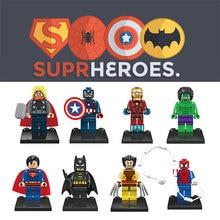 JX 001-008 Super Heroes Thor/Iron /Hulk/Batman/X-Man 6Pcs Minifigures Building Block Minifigure Toys Compatible with Legoe