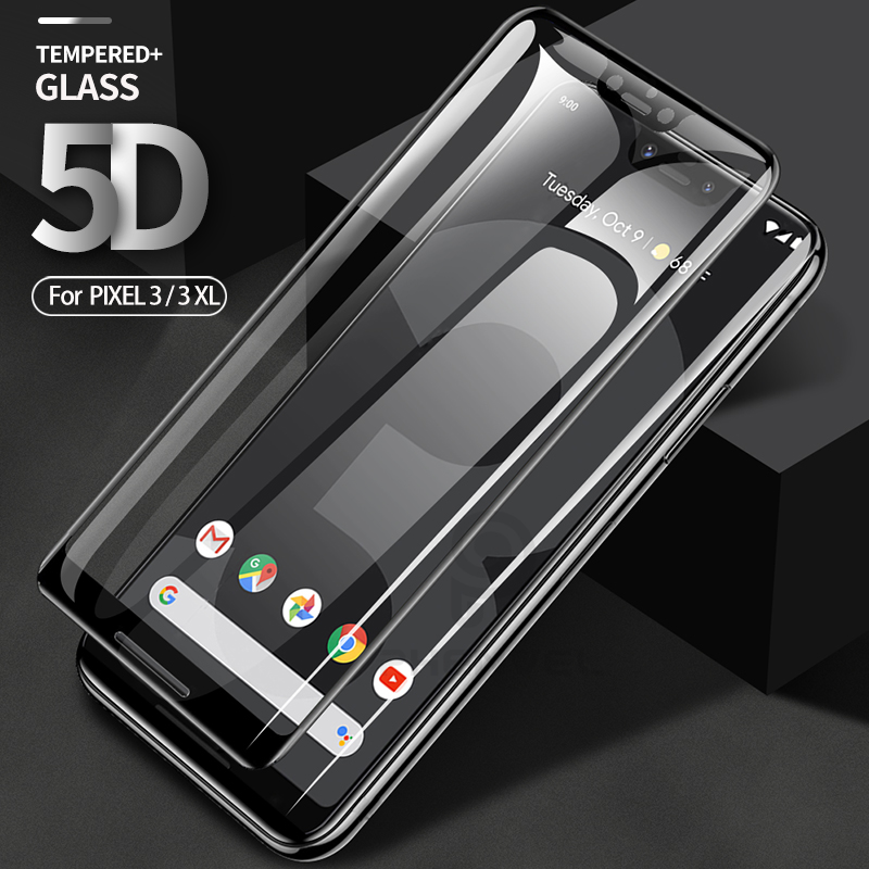5D protecteur d'écran complet pour Google Pixel 3XL 3 XL verre trempé incurvé oléophobe pour Google 3 XL 9H film de verre protecteur XL3