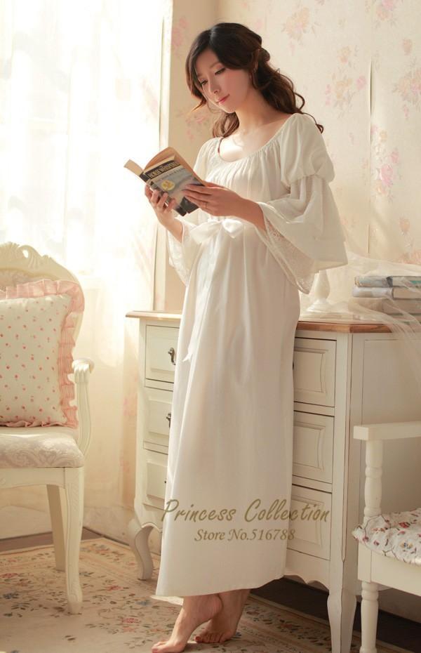 Free Shipping 100% Cotton Nightgown Princess Nightdress Royal pijama Ladies  Sleepwear Long White Women nightwear roupao feminino f0f5e7bc2
