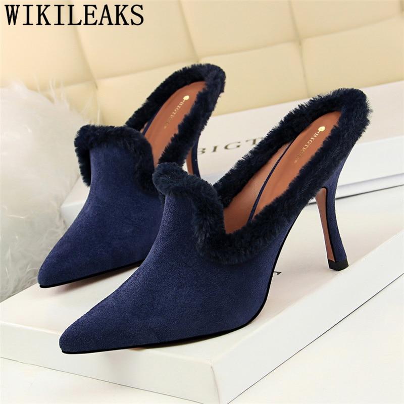 19a83265014 fur mules shoes women high heels wedding shoes bride women pumps valentine shoes  extreme high heels woman salto alto feminino