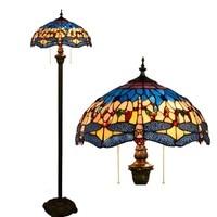 European dragonfly Stained Glass floor lamp for dining room bedroom lamp E27 110 240V