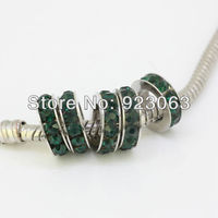 Wholesale Fashion 50pcs Dark Green Crystal Round Spacer Big Hole European Charms Beads For DIY Bracelet,Fashion Jewelry Findings
