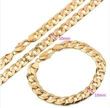 18 k Chapado En Oro de Los Hombres de La Joyería (Collar + Pulsera) 60 cm 19 cm 10mm wdith con Cobre ambiental