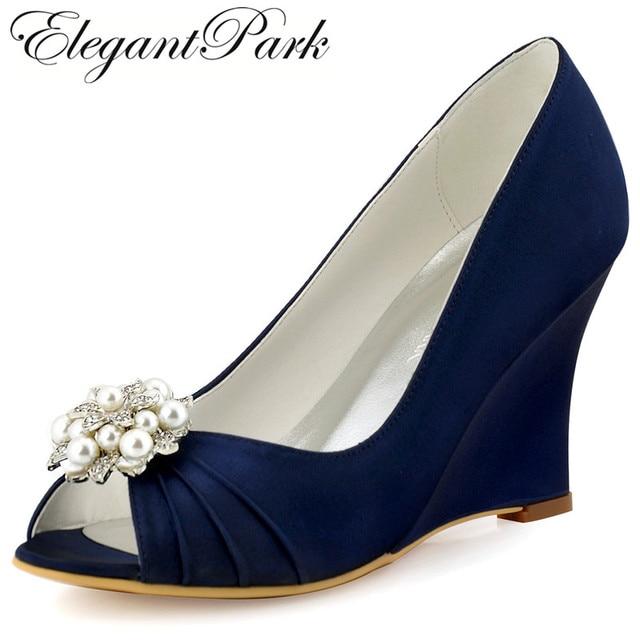 Women Wedges P Toe High Heel Navy Blue Ivory Pearls Clips Satin Bride Lady Bridesmaid Wedding