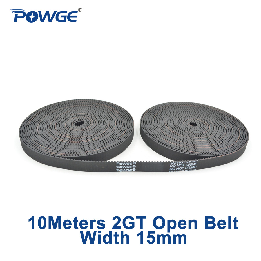 POWGE 10Meters 2MGT 2M 2GT open synchronous Timing belt 2M 15 2GT 15 width 15mm Rubber